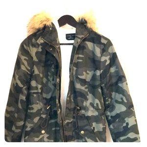 Camo faux fur hooded jacket
